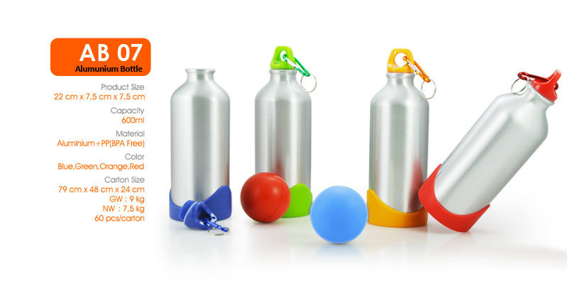 Botol Alumunium, dilengkapi dengan carabiner -  Vizeta | Supplier Merchandise & konveksi Perusahaan Tambang