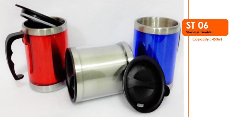 Tumbler Stainless dengan gagang 450 ml -  Vizeta | Supplier Merchandise & konveksi Perusahaan Tambang
