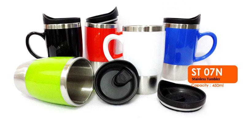 Gelas Mug Tumbler Stainless Dengan Gagang 450 ml -  Vizeta | Supplier Merchandise & konveksi Perusahaan Tambang
