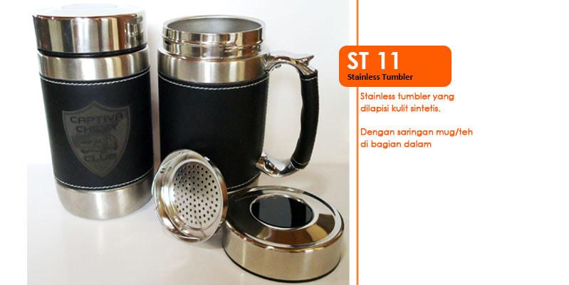 Tumbler Stainless Dilapisi Kulit Dan Saringan -  Vizeta | Supplier Merchandise & konveksi Perusahaan Tambang